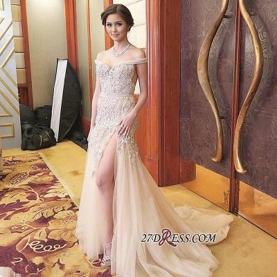 Mermaid Sweep-Train Off-the-shoulder Delicate Front-Split Prom Dress UK_1