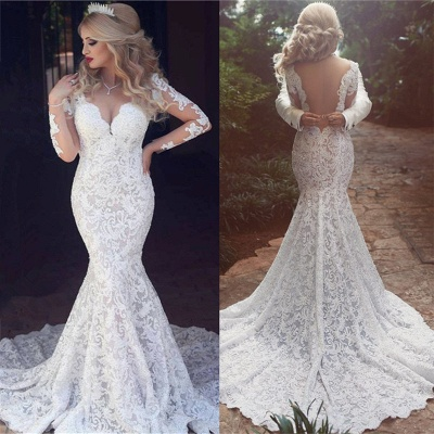 Long Sleeve  Sexy Mermaid Lace Wedding Dress Open Back V-neck Classic Bridal Gown_4