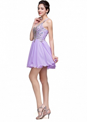Luxury Halter Sleeveless Homecoming Dress UK Short Tulle With Crystals_3