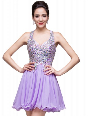 Luxury Halter Sleeveless Homecoming Dress UK Short Tulle With Crystals_1