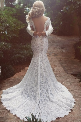 Long Sleeve  Sexy Mermaid Lace Wedding Dress Open Back V-neck Classic Bridal Gown_3