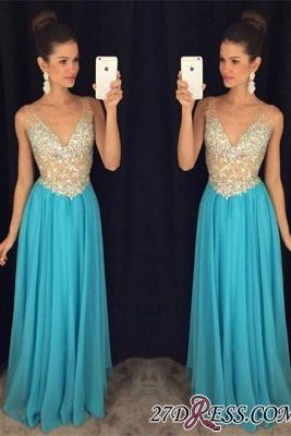 V-Neck Crystal Elegant Popular Ruffles Sleevelesss Prom Dress UKes UK AP0_2