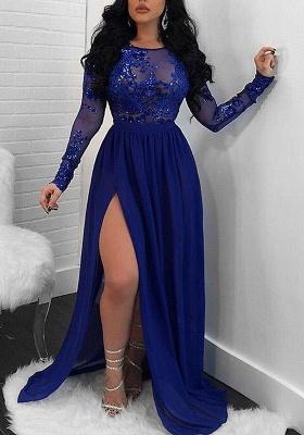 Modern Long Sleeve Lace Front Split Prom Dress UK | Royal Blue Prom Dress UK BA9080_1