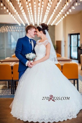 Ball-Gown Short-Sleeves Lace Chic Elegant Court-train Scoop Neckline Wedding Dress_5