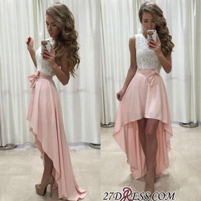 Sleeveless Lace Chiffon Straps A-line Hi-Lo Newest Prom Dress UK BA5241_1