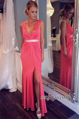 Elegant V-neck Formal Dress UK   Prom Dress UK With Slit_3