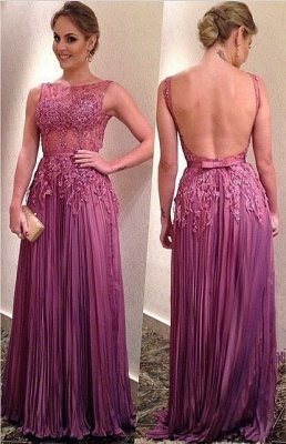 Sexy Illusion Open Back Prom Dress UK Lace Appliques Floor-length_1