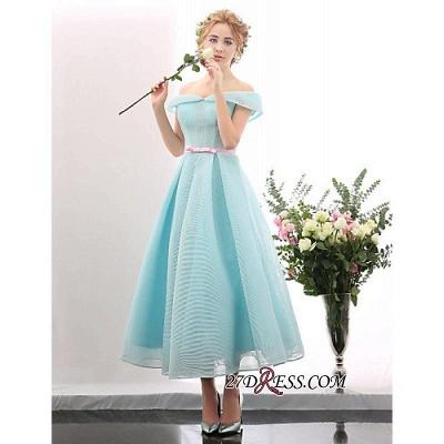 Chic Short Blue Light Tea-length Cap-Sleeve Sky Cocktail Dress UK_1