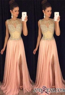 Beads Sleeveless Luxury Chiffon A-line Front-Split Prom Dress UK_2