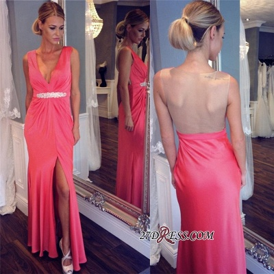 Elegant V-neck Formal Dress UK   Prom Dress UK With Slit_2