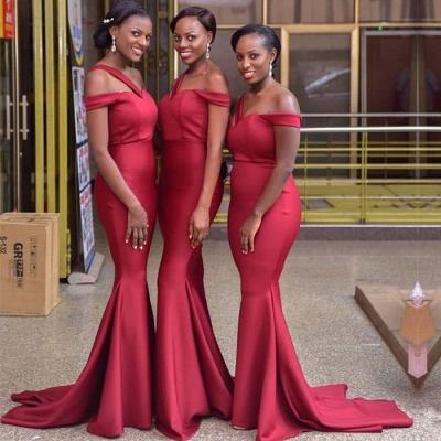 Luxury Off-the-Shoulder Red Bridesmaid Dress UK | 2019 Mermaid Long Maid of Honor Dress UK_3