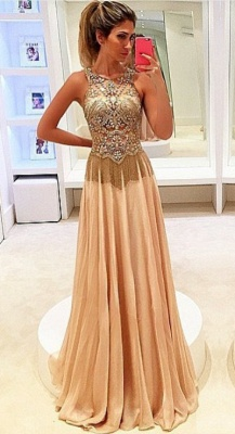 Newest Beadings Chiffon Illusion Prom Dress UK A-line Sweep Train_1