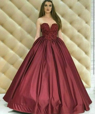 Sexy Sweetheart Lace Appliques Prom Dress UK Burgundy Evening Dress UK On Sale_3