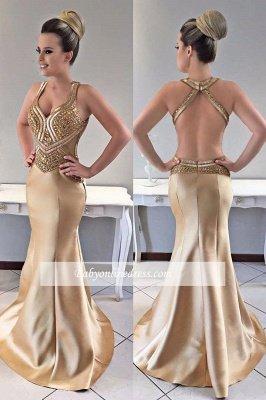 Gold prom Dress UK, crystal mermaid evening Dress UK_2