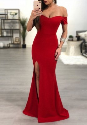 Sexy Red Off-the-Shoulder Prom Dress UK   Mermaid Sweetheart Evening Gowns_1