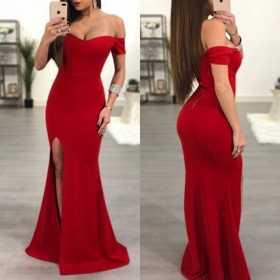 Sexy Red Off-the-Shoulder Prom Dress UK   Mermaid Sweetheart Evening Gowns_4