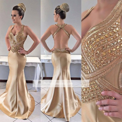 Gold prom Dress UK, crystal mermaid evening Dress UK_1