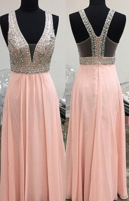 Lovely Pink Halter Prom Dress UK Long Chiffon With Beaidngs_1