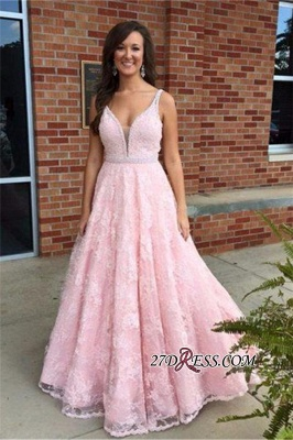V-Neck Pink Sexy Crystal Lace Sleeveless Prom Dress UK_3