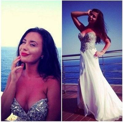 Elegant Sweetheart Sleeveless Chiffon Prom Dress UK With Front Split Crystals_1