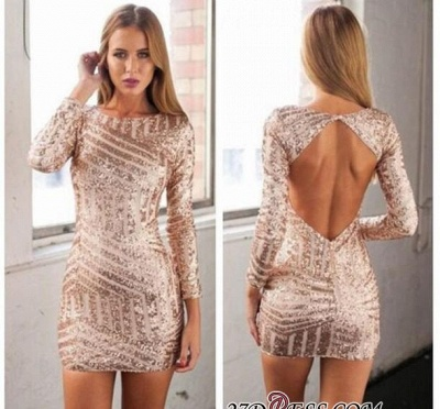 Jewel Newest Sequined Long-Sleeve Mini Homecoming Dress UK_2