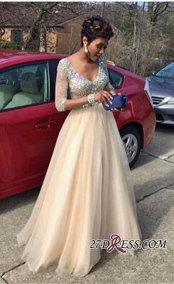 V-Neck Crystal Gorgeous Half-Sleeves Tulle Floor-Length Prom Dress UK_2