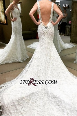 Backless Lace Spaghetti-Straps Elegant Sexy Mermaid Beaded Wedding Dresses UK_2