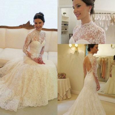 Gorgeous Long Sleeve lace Wedding Dress High-neck Open Back Zipper_6