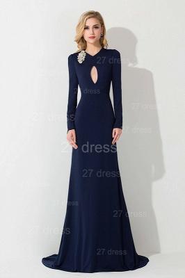 Elegant Long Sleeve Mermaid Evening Dress UK Crystals Sweep Train_3
