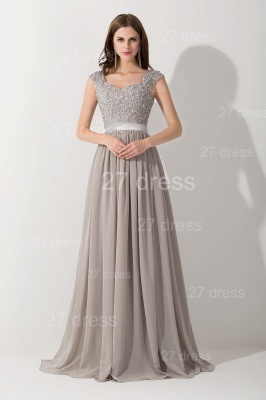 Modern Lace Appliques Chiffon Evening Dress UK Cap Sleeve_1