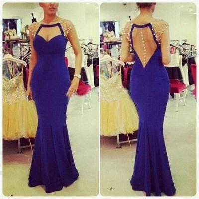Elegant Mermaid Cap Sleeve Prom Dress UK Zipper Button Back_3