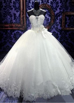 Elegant Sweetheart Sleeveless Tulle Lace Wedding Dress With Beadss Crystals_1