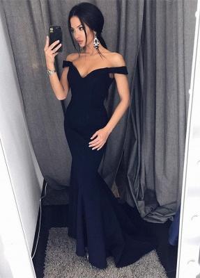 Elegant Black Off-the-Shoulder Prom Dress UK Long Mermaid Evening Dress UK On Sale BA6751_1