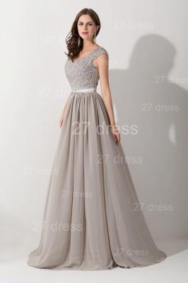 Modern Lace Appliques Chiffon Evening Dress UK Cap Sleeve_5