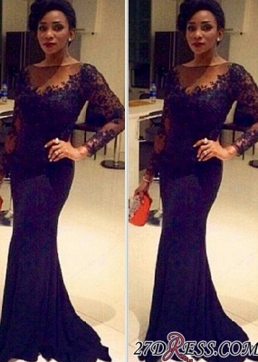 Black Long-Sleeve Lace Sexy Mermaid Sheer Evening Gown_2