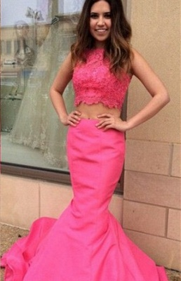 Newest Pink Two Piece Prom Dress UK Lace Mermaid Sweep Train_1