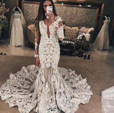 Long Sleeve Unique Lace Wedding Dresses UK    Sexy Mermaid Lace Long Train Bridal Gown_3