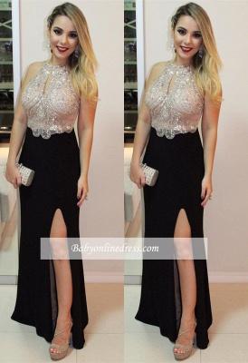 Black prom Dress UK with slit, evening Dress UK_2