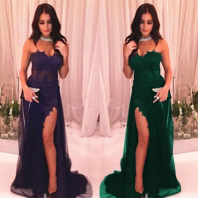 Delicate Lace Sweetheart Sleeveless Front Split Evening Gown | Prom Dress UK_4