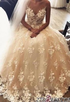 Exquisite Sweep-Train A-Line Appliques Lace Sweetheart 3D-Floral Wedding Dress_1
