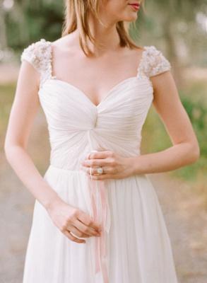 Elegant Cap Sleeve Lace Wedding Dress Long  Sweetheart_5