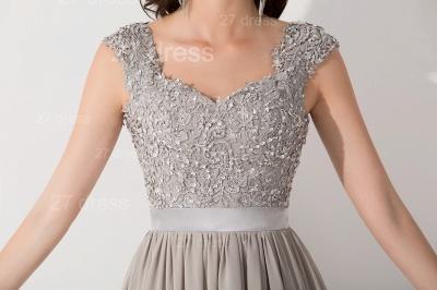 Modern Lace Appliques Chiffon Evening Dress UK Cap Sleeve_4