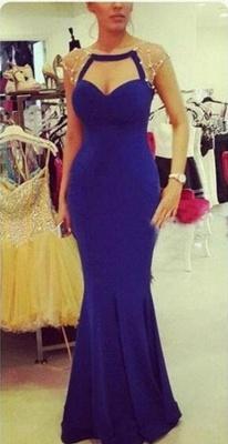 Elegant Mermaid Cap Sleeve Prom Dress UK Zipper Button Back_1