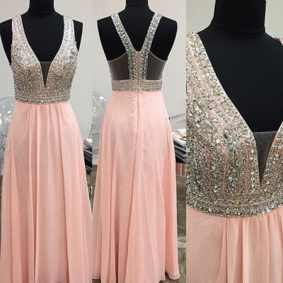 Lovely Pink Halter Prom Dress UK Long Chiffon With Beaidngs_2