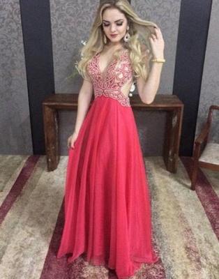 Sexy Backless A-line Floor-length Crystal V-neck Chiffon Elegant Evening Dress UK_2