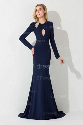 Elegant Long Sleeve Mermaid Evening Dress UK Crystals Sweep Train_1