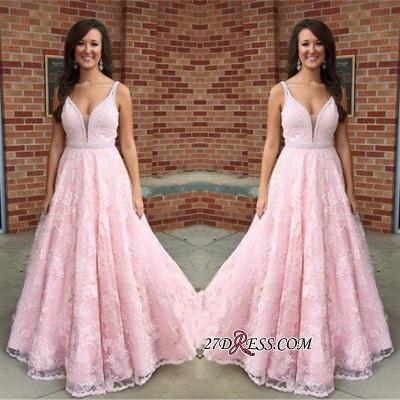 V-Neck Pink Sexy Crystal Lace Sleeveless Prom Dress UK_1