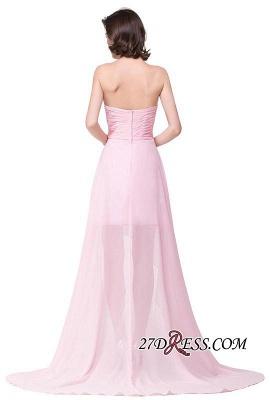 Chiffon Beadings Sweetheart Simple A-Line Hi-Lo Prom Dress UKes UK_5