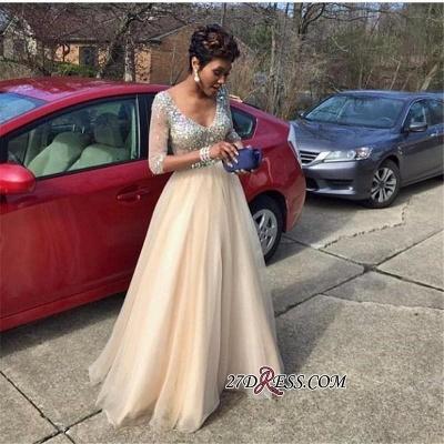 V-Neck Crystal Gorgeous Half-Sleeves Tulle Floor-Length Prom Dress UK_1