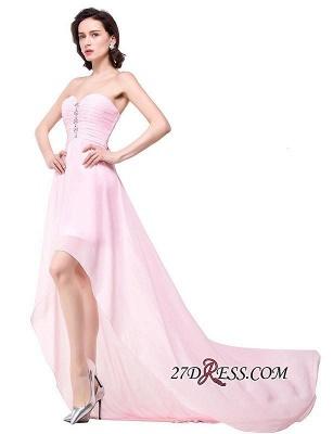 Chiffon Beadings Sweetheart Simple A-Line Hi-Lo Prom Dress UKes UK_3